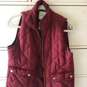 Burgundy quilted vest